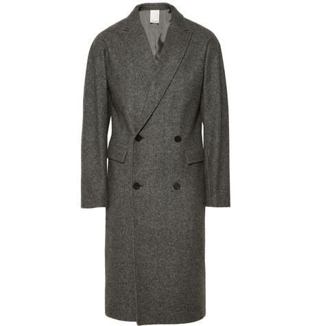 Double-Breasted Herringbone Wool Overcoat