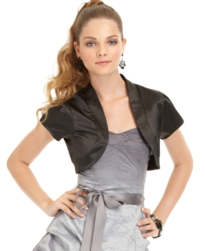 BCX Juniors Shrug, Open Front Short Sleeve Satin Cropped