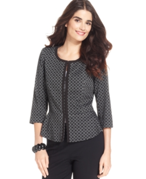 Elementz Cardigan, Three-Quarter-Sleeve Printed Peplum