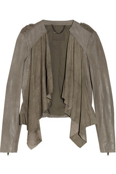 Lupus draped suede and leather biker jacket