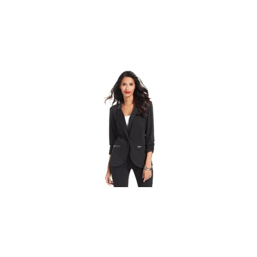 Style&co. Blazer, Three-Quarter-Sleeve Ruched Faux-Leather-Trim