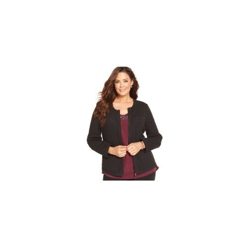 Alfani Plus Size Jacket, Textured-Knit Zip-Front
