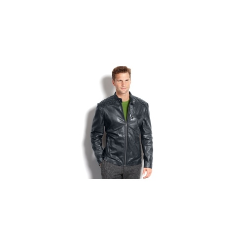 Marc New York Big and Tall Jacket, Quincy Glove Leather Jacket with Quilted Patch