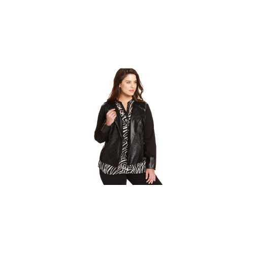 NY Collection Plus Size Jacket, Quilted Faux-Leather Ponte-Knit Moto