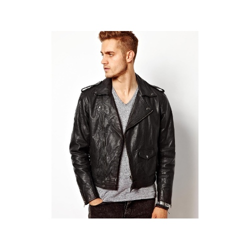 Leather Biker Jacket In Slim Fit