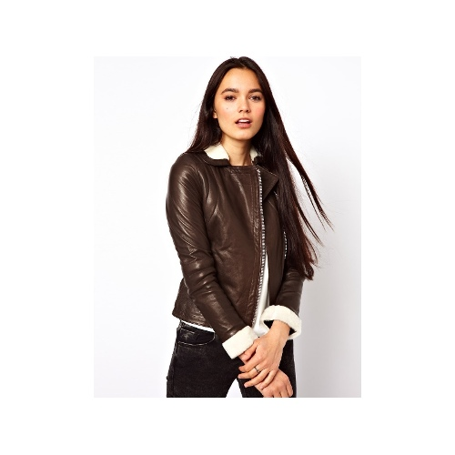 Leather Biker Jacket with Shearling Trim