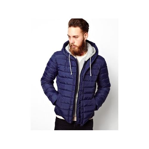 Quilted Jacket With Jersey Hood