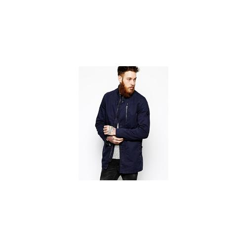 ASOS Mac With Funnel Neck - Navy