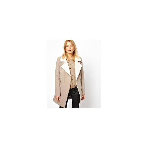 Oasis Two Tone Biker Coat - Neutral