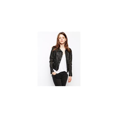 Doma Leather Biker Jacket With Oversized Collar - Black