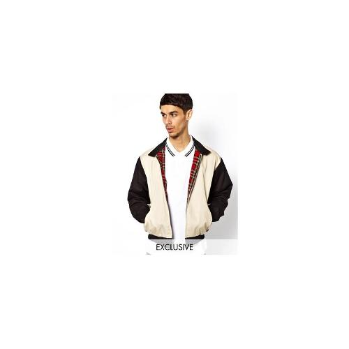 Reclaimed Vintage Harrington Jacket with Contrast Sleeves - Beige