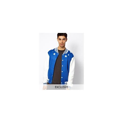 Reclaimed Vintage Bomber Jacket with Stars and Back Print - Blue