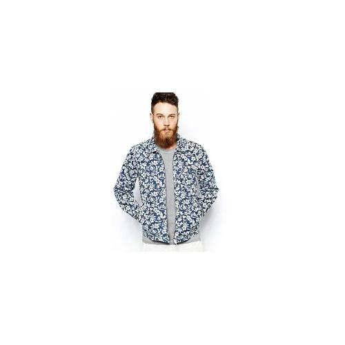 Universal Works Windcheater Jacket in Floral Print - Navy