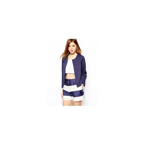 Warehouse Quilted Crop Jacket - Navy