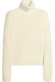 Exaggerated shoulder wool turtleneck sweater