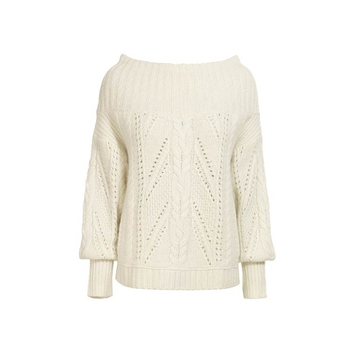 Reiss Ellen ROUND NECK CROPPED CABLE KNIT