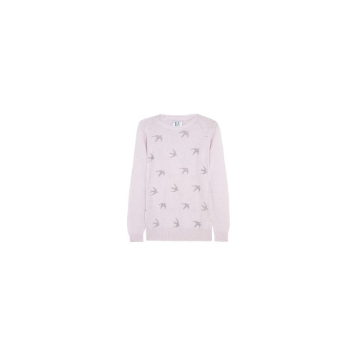 Swallow-print wool and cashmere-blend sweater