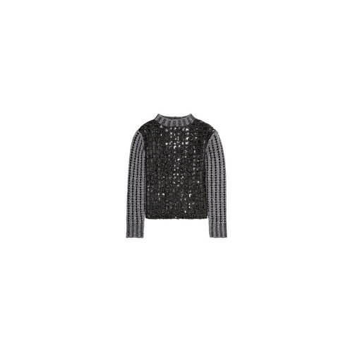 Sequined ribbed-knit wool-blend sweater