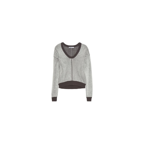 Knitted stretch cotton-blend sweater