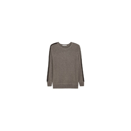 Leather-trimmed cashmere sweater