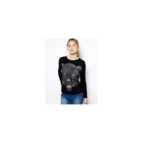 Jovonnista Mildred Panther Print Long Sleeve top - Black