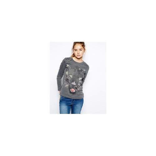 Jovonnista Mildred Panther Print Long Sleeve top - Grey