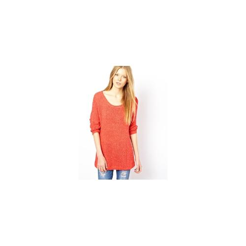 American Vintage Slouchy Jumper with Cropped Sleeves - Tomato