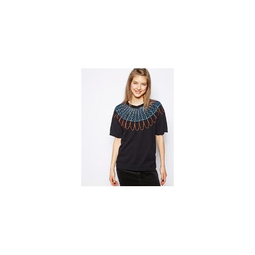 NW3 Jumper with Embroidered Spira Graph Print with - Oxford blue