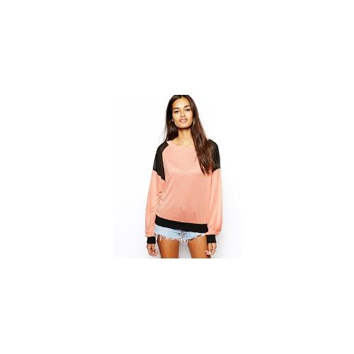 Glamorous Slubby Knit Jumper with Contrast Patches - Peach