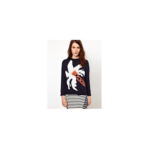 Boutique by Jaeger Palm Tree Intarsia Hand Knitted Jumper - Navy