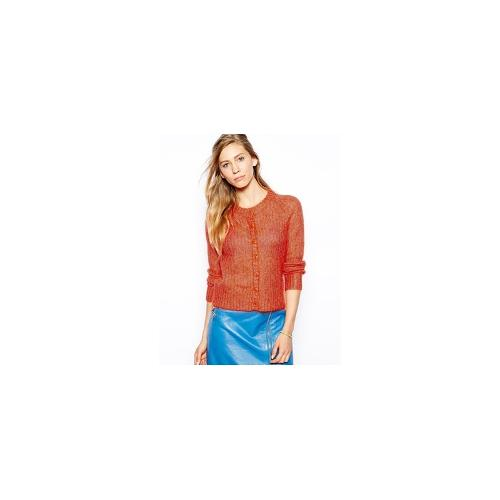 Le Mont St Michel Wool Mix Cardigan With Button Front - Coral