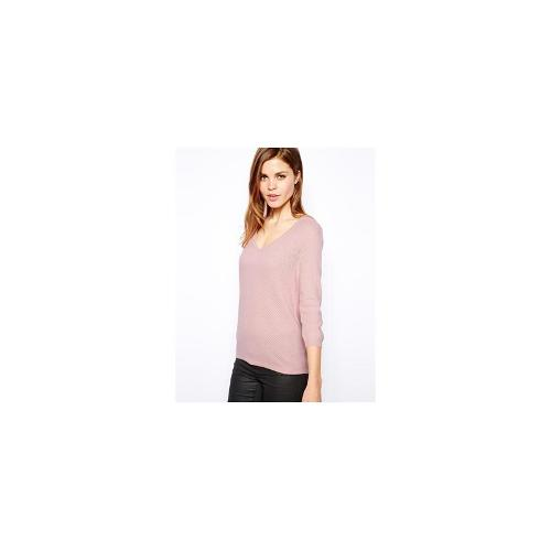 Warehouse V Neck Waffe Stitch Jumper - Pink