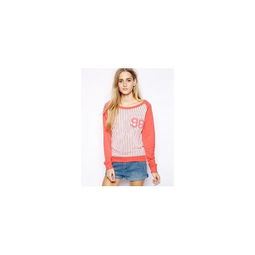 Brave Soul Striped Baseball Jumper - Poppy red