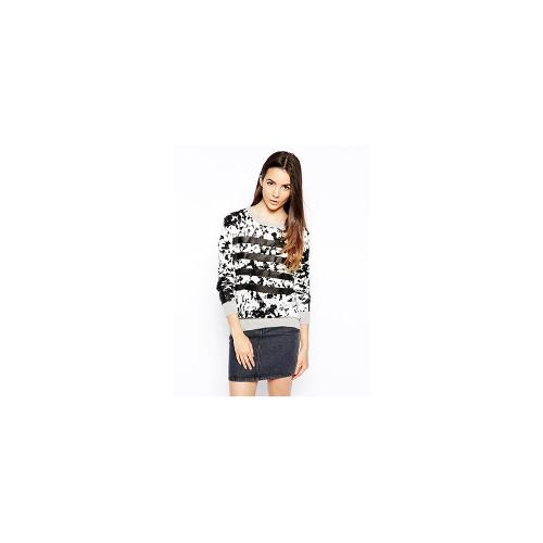 Shae Perforated Stitch Jumper with Leather Stripes - Black print