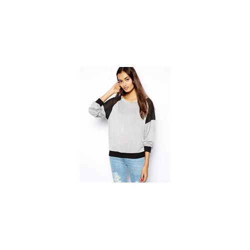Glamorous Slubby Knit Jumper with Contrast Patches - Grey