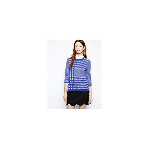 Boutique by Jaeger Knitted Top in Gingham Check - Purple/blue
