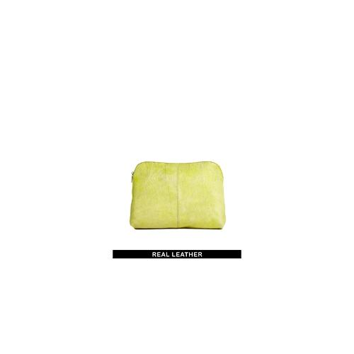 ASOS Leather Clutch Bag In Pony And Soft Construction - Yellow