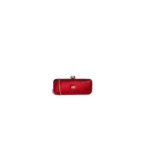 Love Moschino Crystal Encrusted Satin Box Clutch Bag - Red