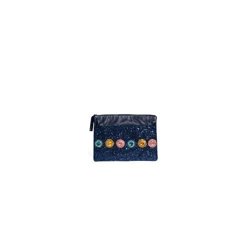 House of Holland Clutch Bag in Navy Glitter - Navy