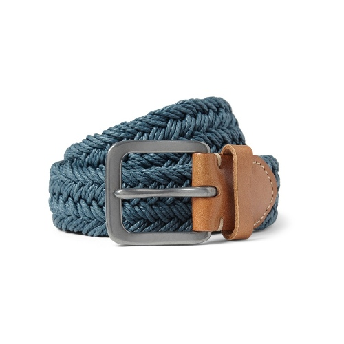 Paul Smith Shoes & Accessories Leather-Trimmed Waxed Woven-Cotton Belt