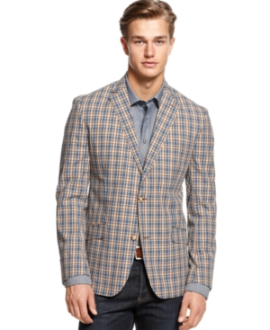 Tallia Orange Jacket, Brown Plaid Sportcoat