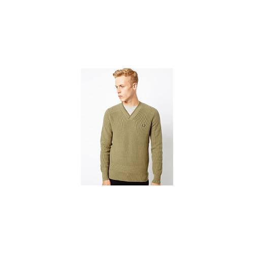 Fred Perry Laurel Wreath Jumper with Textured Knit - Green