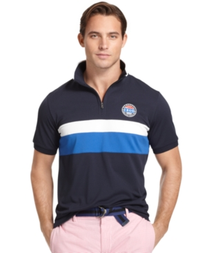 Izod Malibu Days Shirt, Chest Stripe Performance Zip Polo Shirt