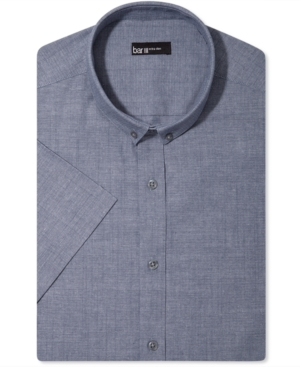 Bar III Dress Shirt, Extra Slim Blue Textured Chambray Short Sleeve Shirt