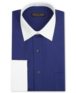 Donald J. Trump Dress Shirt, Solid Long-Sleeved Shirt with White Collar and French Cuff
