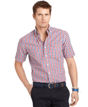 Izod Shirt, Short Sleeve Gingham Check Shirt