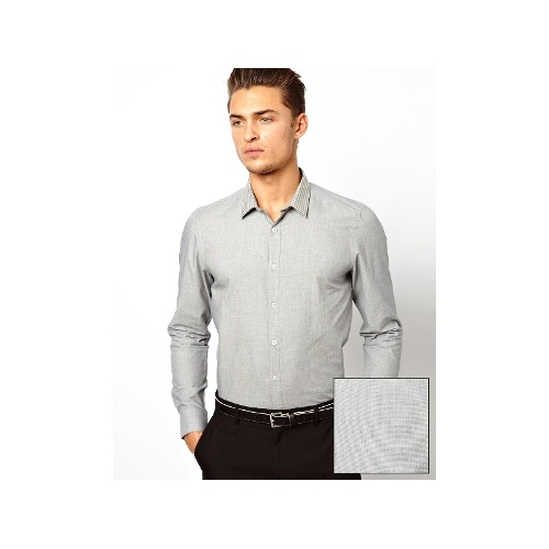 Smart Shirt In Long Sleeve With End On End And Contrast Check Collar