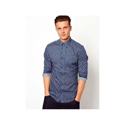 Shirt with Pendle Print in Slim Fit