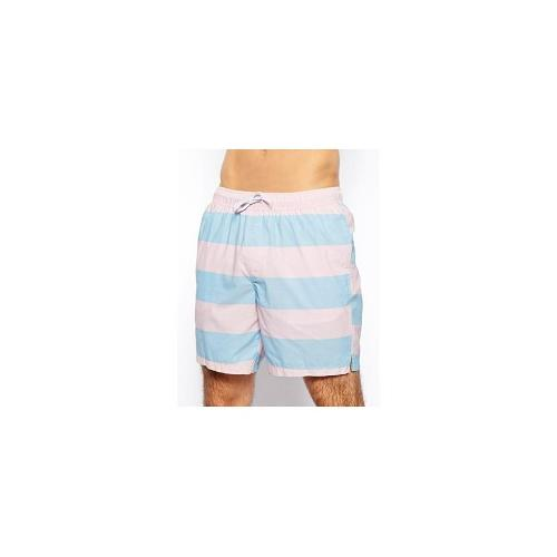 ASOS Stripe Swim Shorts In Mid Length