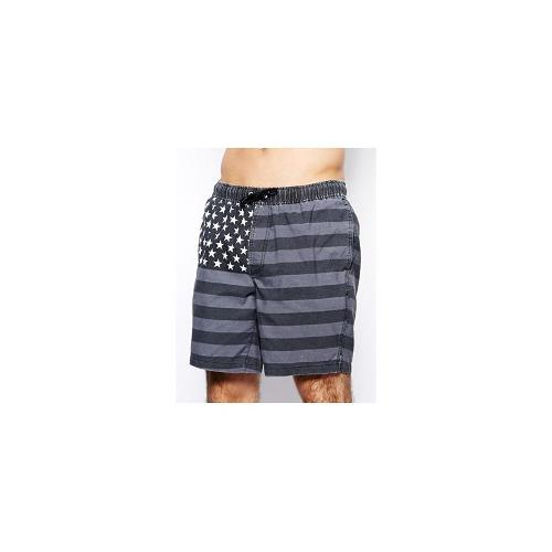 ASOS Swim Short In Mid Length With US Flag